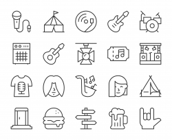 Music Festival - Light Line Icons