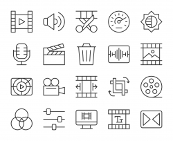Movie Making and Video Editing - Light Line Icons