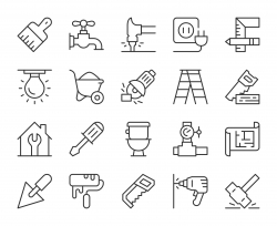 Home Repair - Light Line Icons