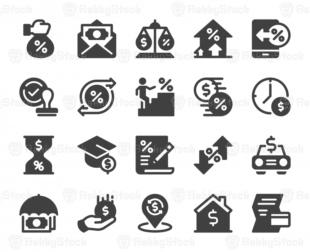 Loan and Interest - Icons