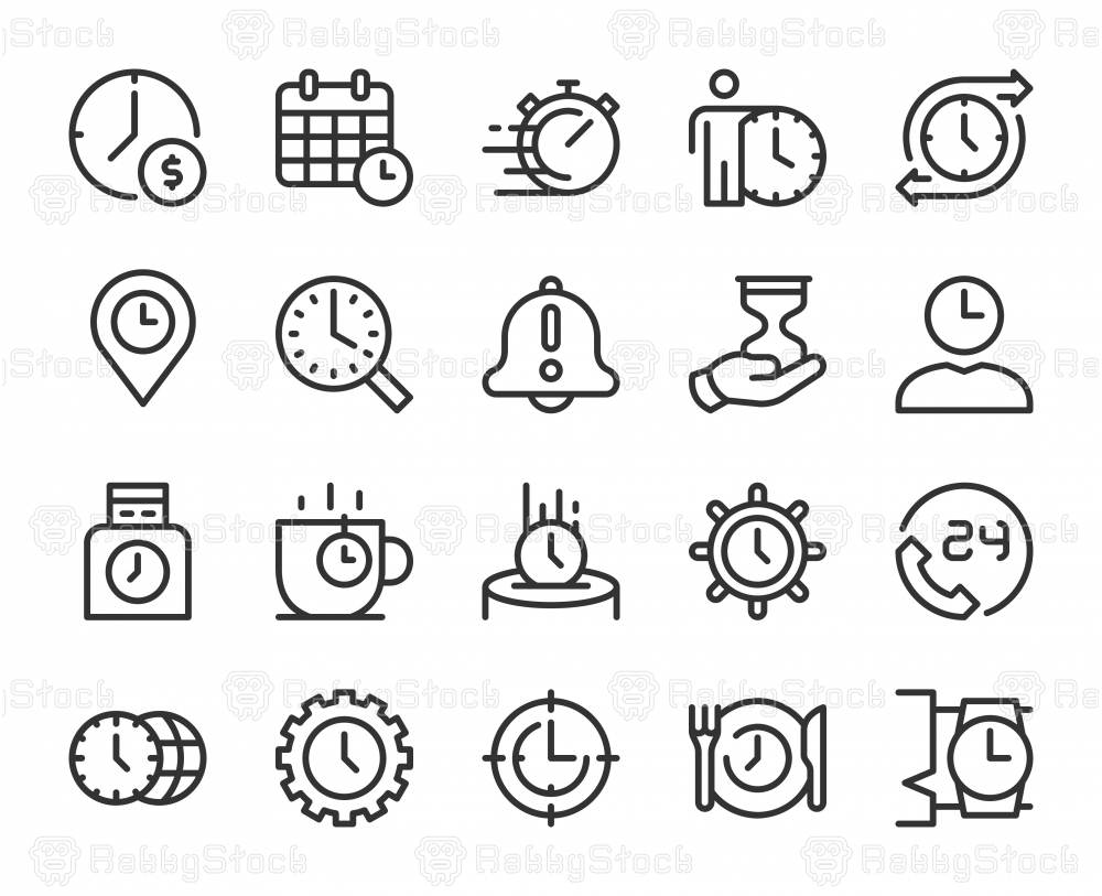 Time Management - Line Icons