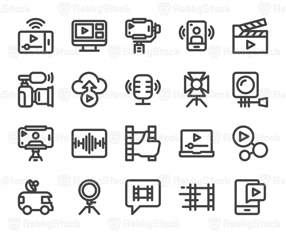 Video blogging and Live Streaming - Bold Line Icons