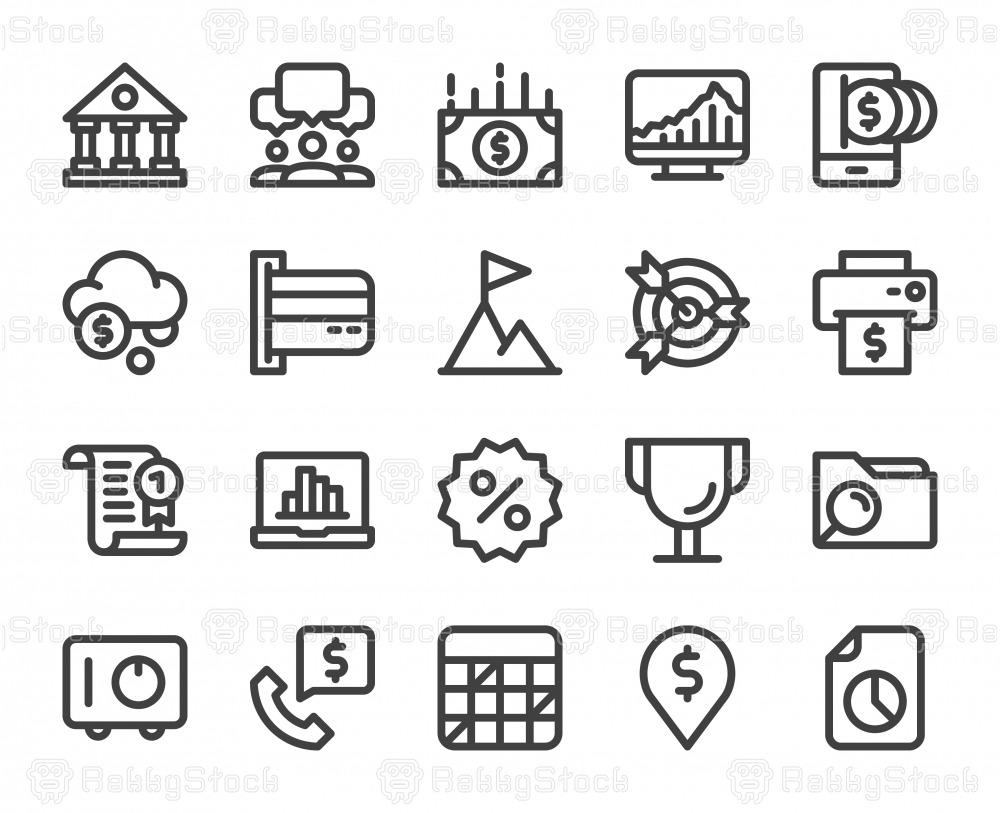 Business and Finance - Bold Line Icons