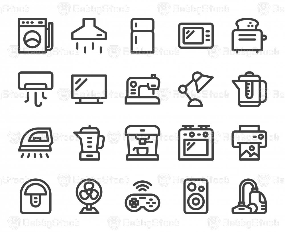 Household Appliances - Bold Line Icons