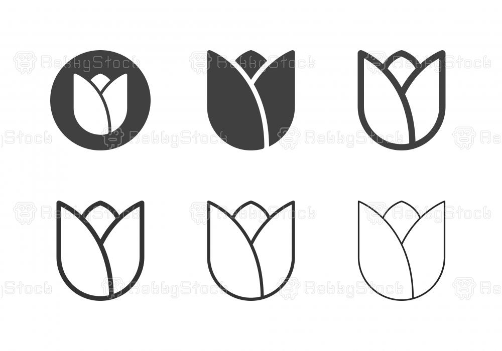 Tulip Flower Icons - Multi Series