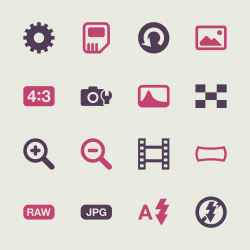 Camera Menu Icons Set 3 - Color Series | EPS10