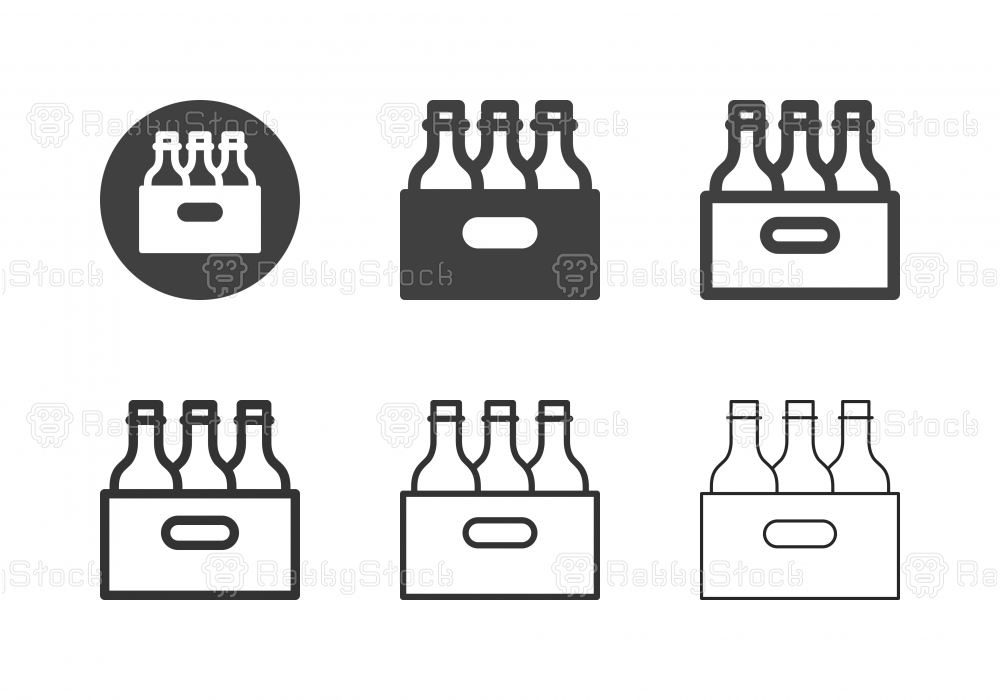 Beer Bottle in Wooden Crate Icons - Multi Series