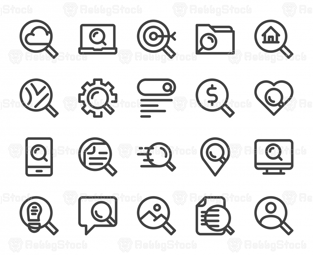Searching Concept - Bold Line Icons