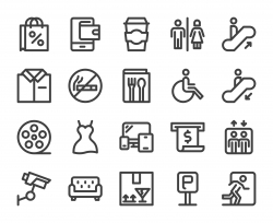 Shopping Mall - Bold Line Icons