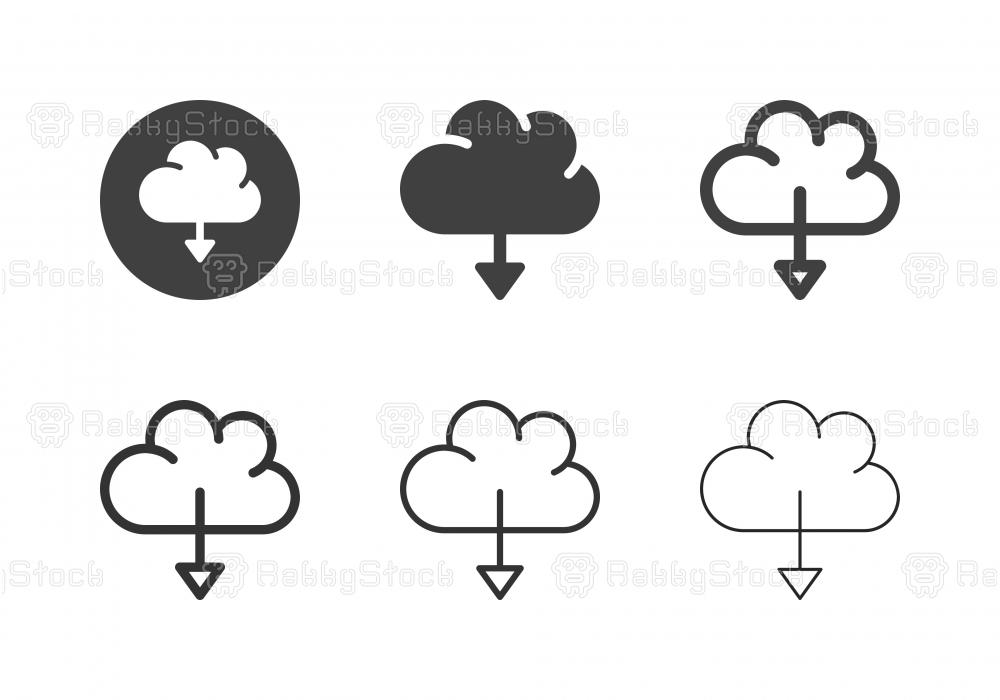 Cloud Computing Downloading Icons - Multi Series