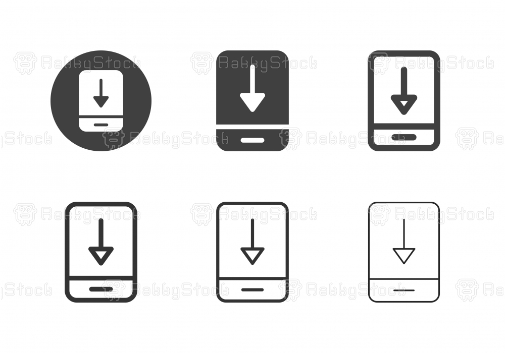 Mobile Data Downloading Icons - Multi Series