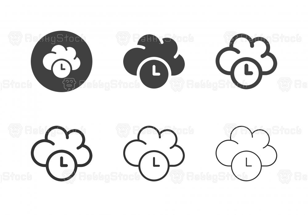 Cloud Computing Timing Icons - Multi Series