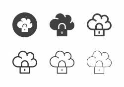 Cloud Computing Locking Icons - Multi Series