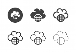Cloud Global Data Icons - Multi Series