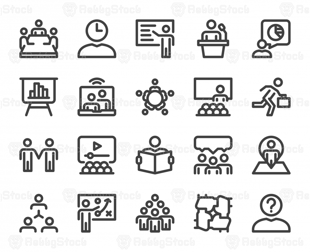 Business Meeting - Bold Line Icons