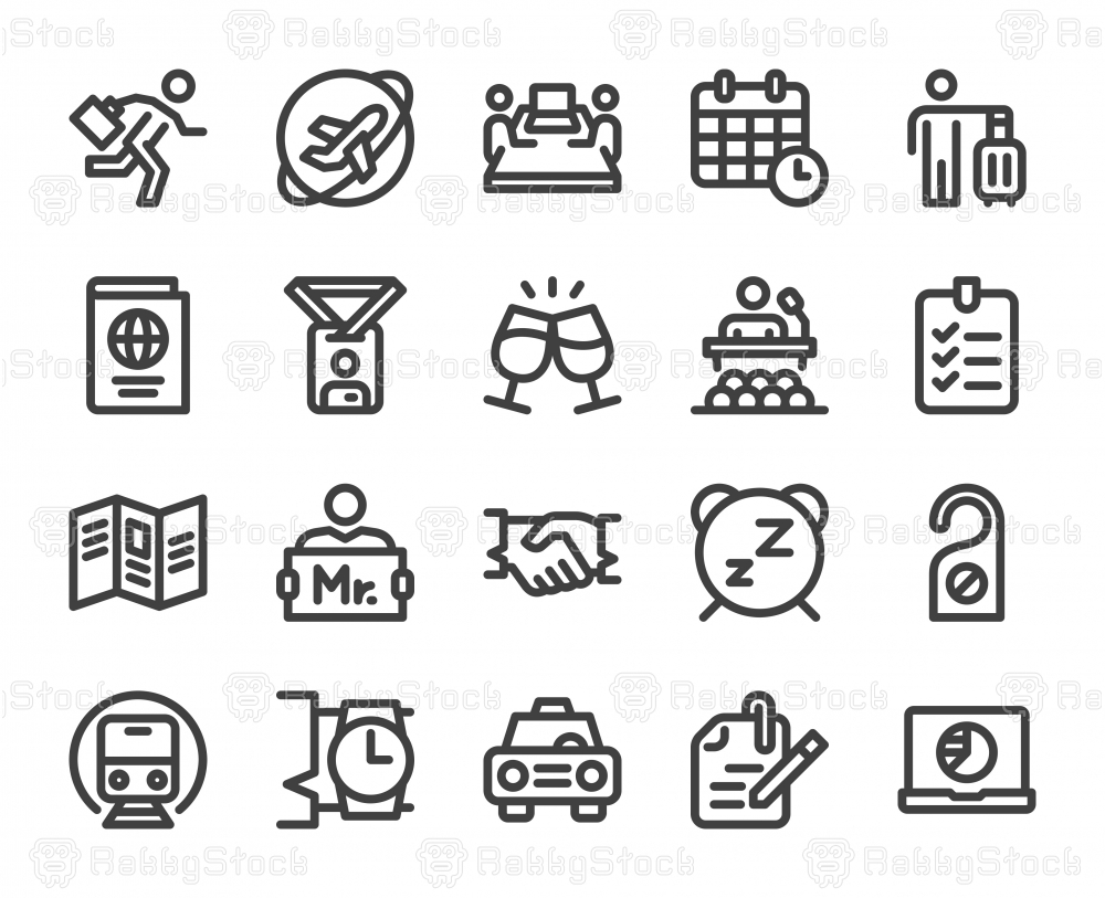 Business Trip - Bold Line Icons