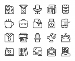 Business Office - Bold Line Icons