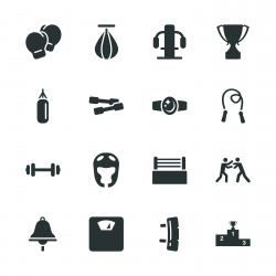 Boxing Silhouette Icons
