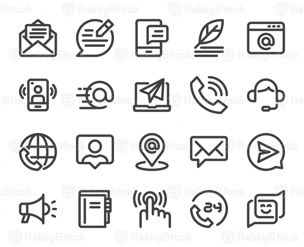 Contact Us - Bold Line Icons