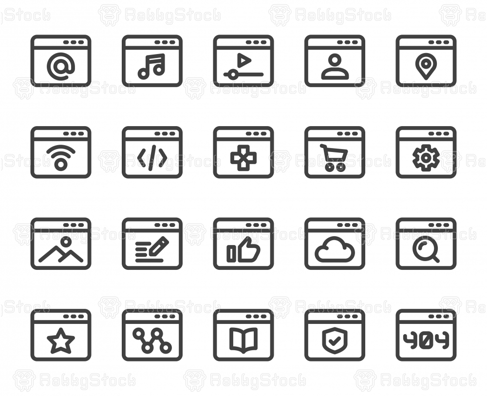 Web Page - Bold Line Icons