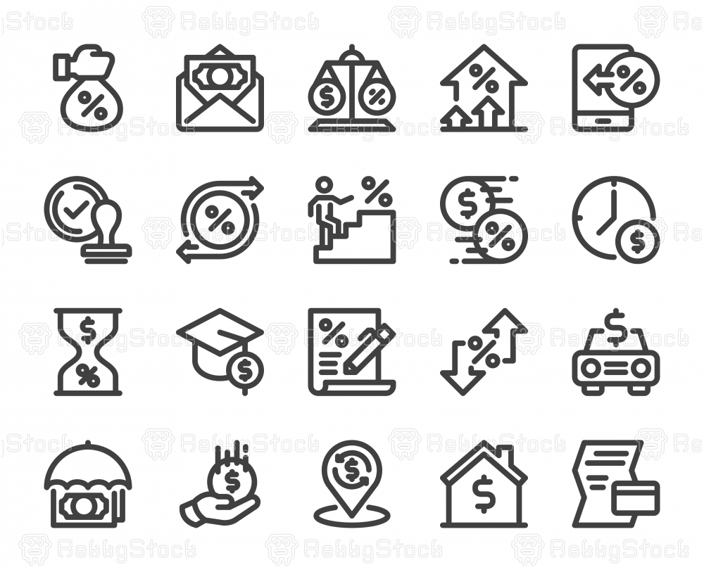 Loan and Interest - Bold Line Icons