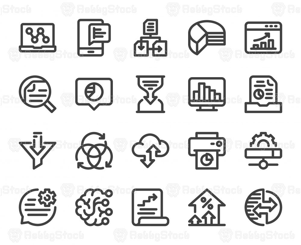 Business Data Analysis - Bold Line Icons