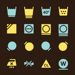 Laundry Sign Icons Set 2 - Color Series | EPS10