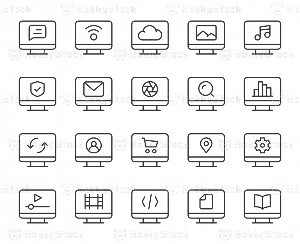 Desktop - Light Line Icons