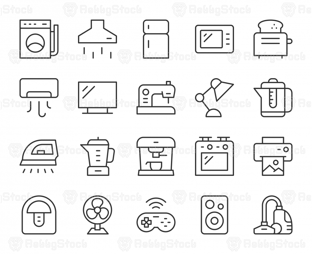 Household Appliances - Light Line Icons