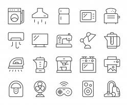 Household Appliances - Light Line Icons