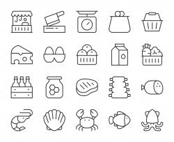 Fresh Market - Light Line Icons