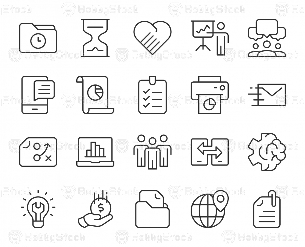 Project Management - Light Line Icons