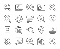 Searching Concept - Light Line Icons