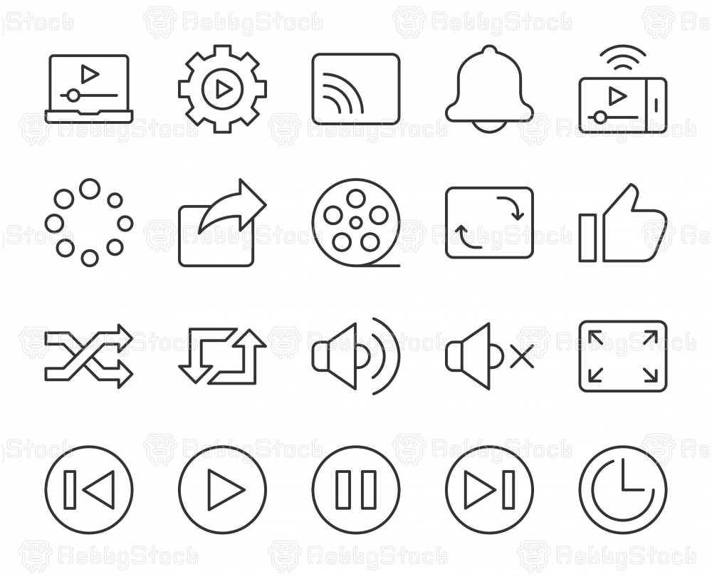 Video Streaming - Light Line Icons