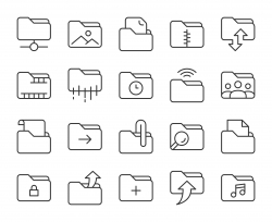 Folder - Light Line Icons