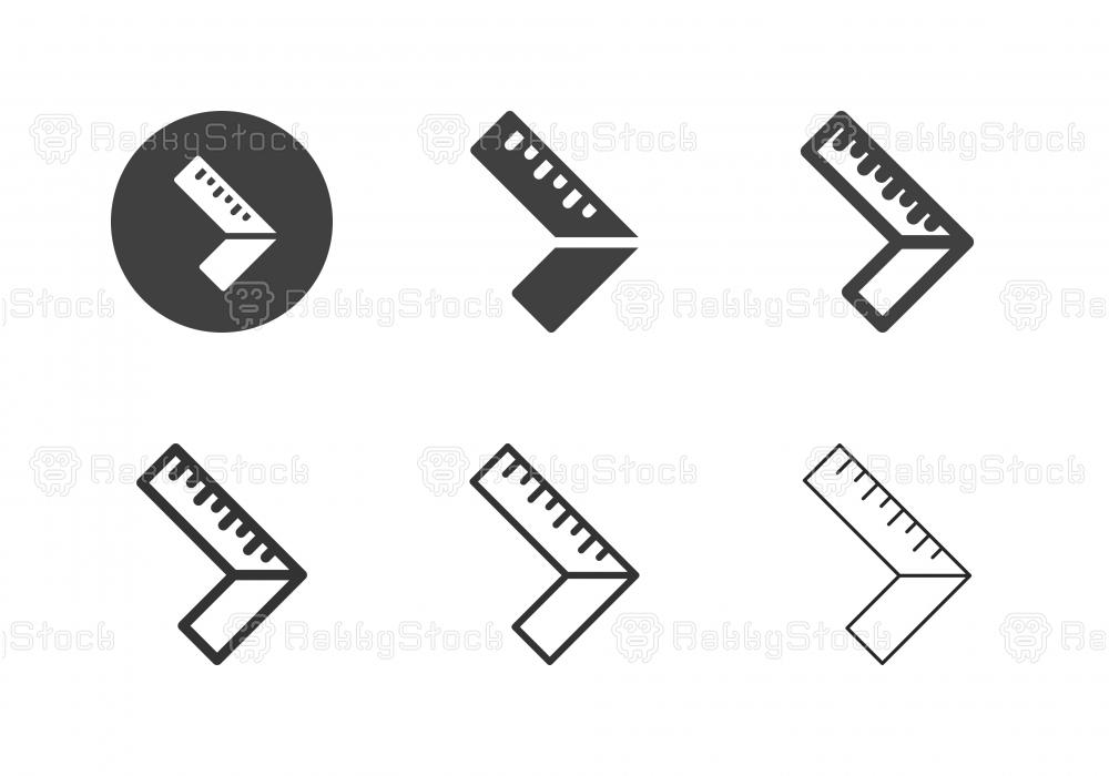 90 Degree Square Ruler Icons - Multi Series
