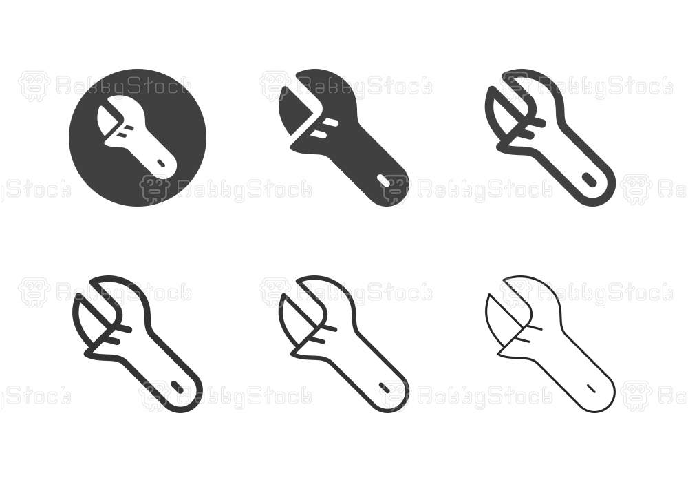 Adjustable Wrench Icons - Multi Series