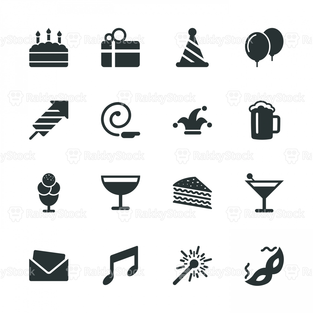 Birthday Celebrations Party Silhouette Icons