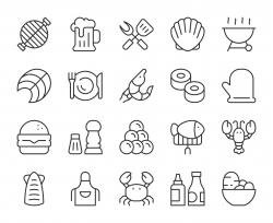 Seafood and Grilled - Light Line Icons