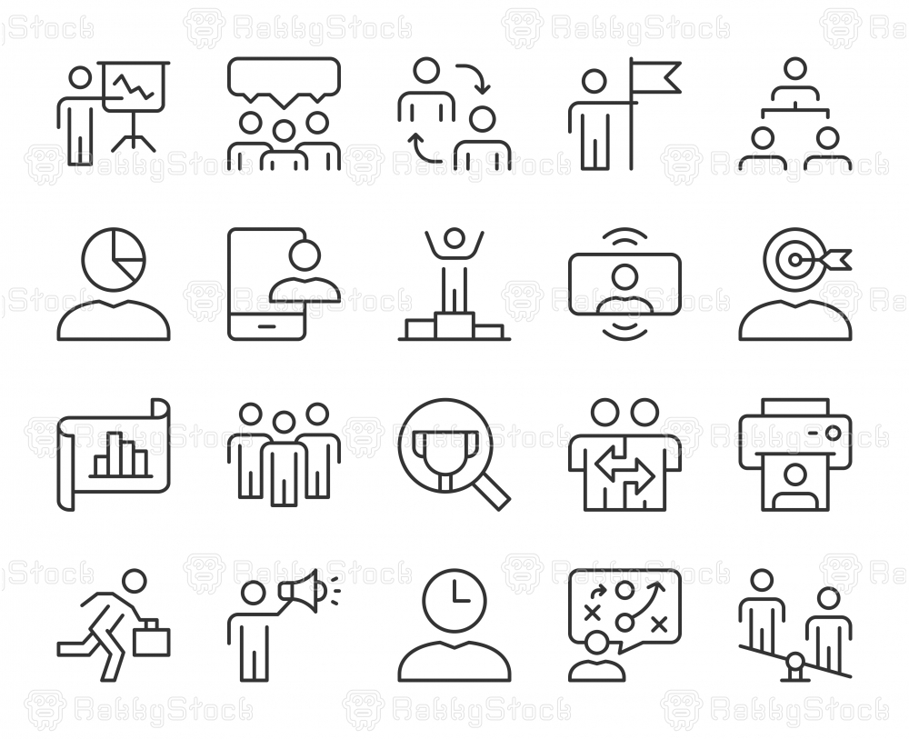 Business Management - Light Line Icons