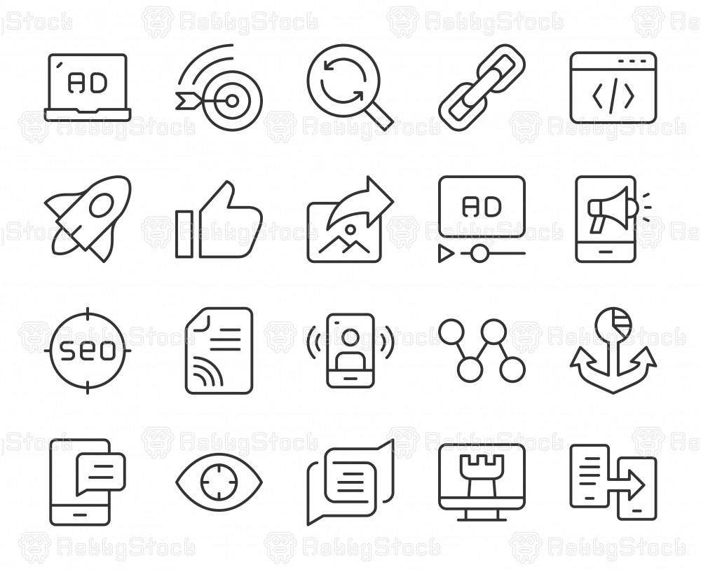 Digital Marketing - Light Line Icons
