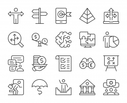 Business Solution - Light Line Icons