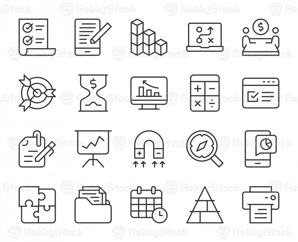 Business Plan - Light Line Icons