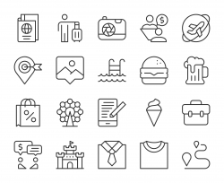Work and Travel - Light Line Icons
