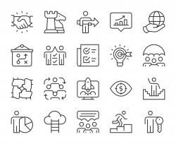 Corporate Development - Light Line Icons