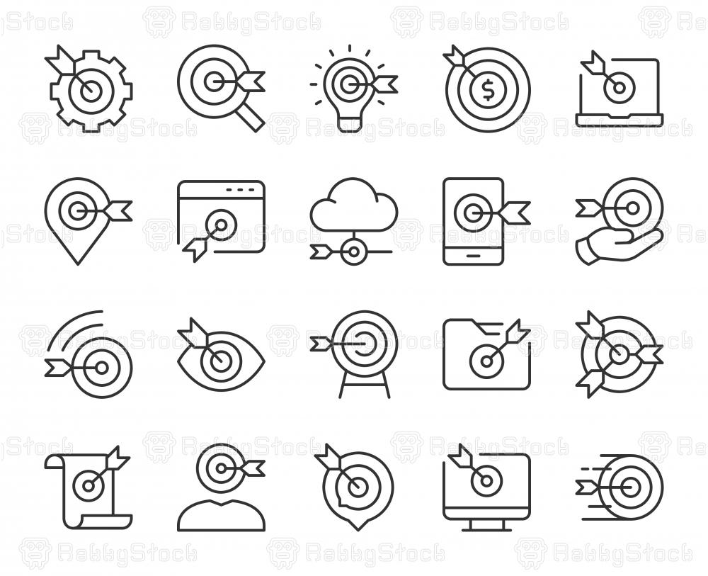Target Market - Light Line Icons