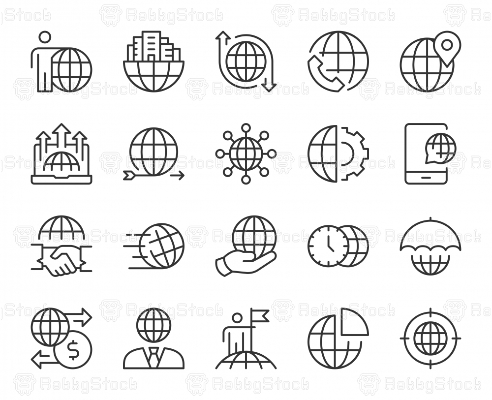 Global Business - Light Line Icons