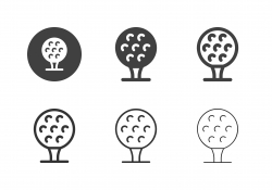 Golf Ball on Tee Icons - Multi Series