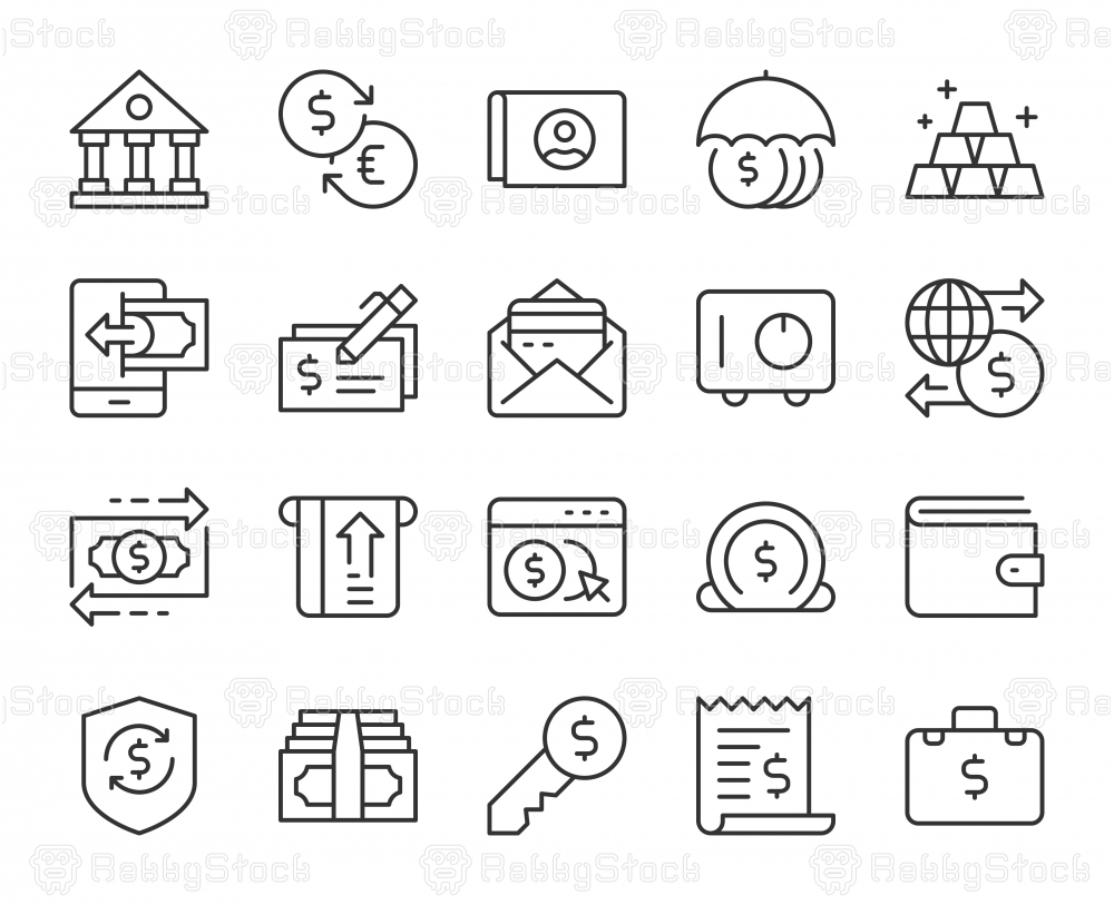 Banking and Accounting - Light Line Icons