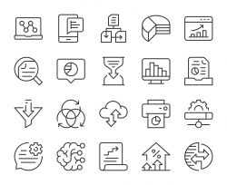 Business Data Analysis - Light Line Icons